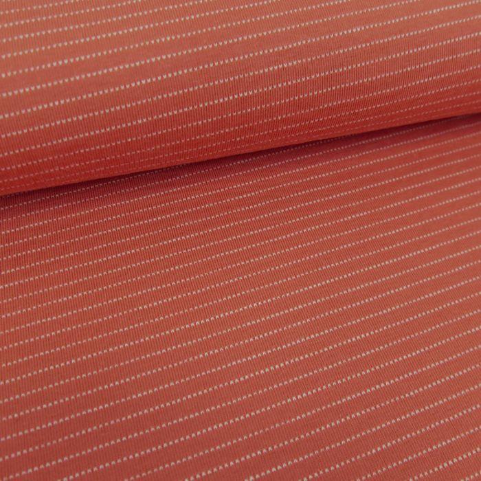 Tissu jersey fin à rayures - rouille x 10 cm
