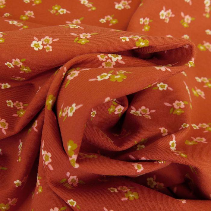 Tissu jersey bio à fleurs Florentine - terracotta x 10 cm