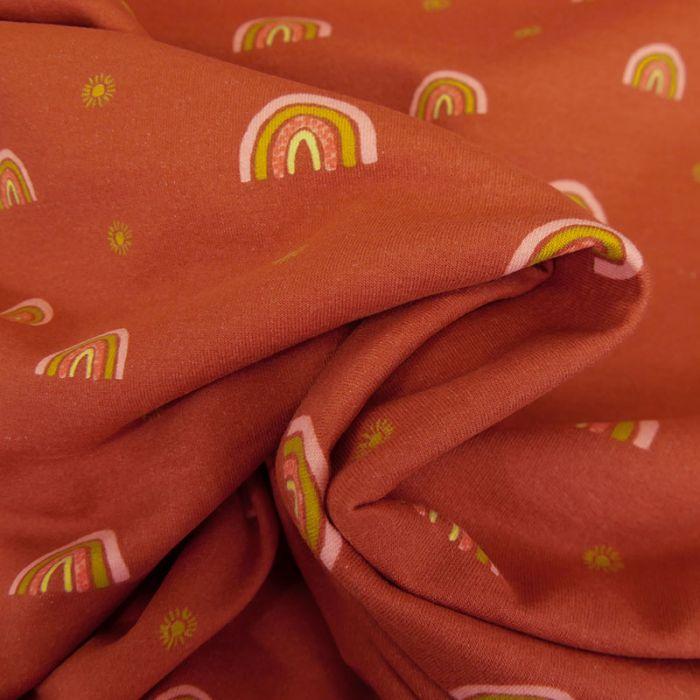 Tissu jersey bio sweat léger arc-en-ciel - terracotta x 10 cm
