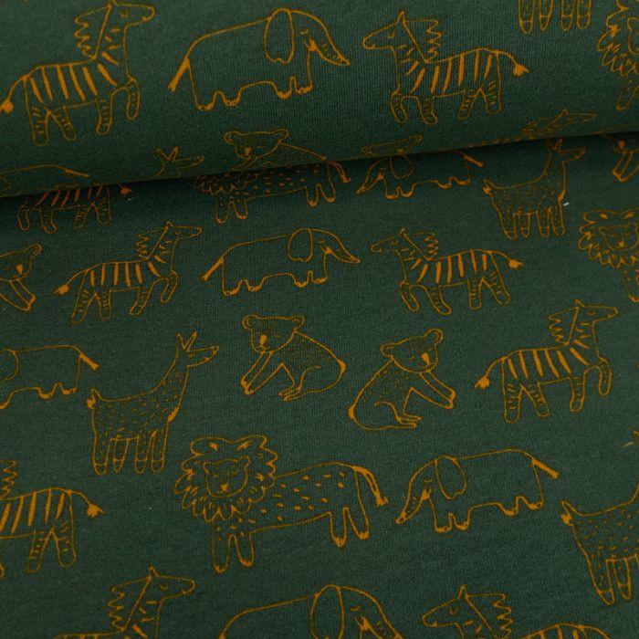 Tissu jersey bio sweat léger savane - vert forêt x 10 cm