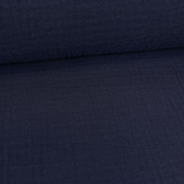 Tissu double gaze brodé festonné - bleu marine x 10 cm