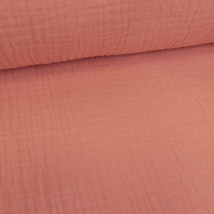Tissu double gaze brodé festonné - corail x 10 cm