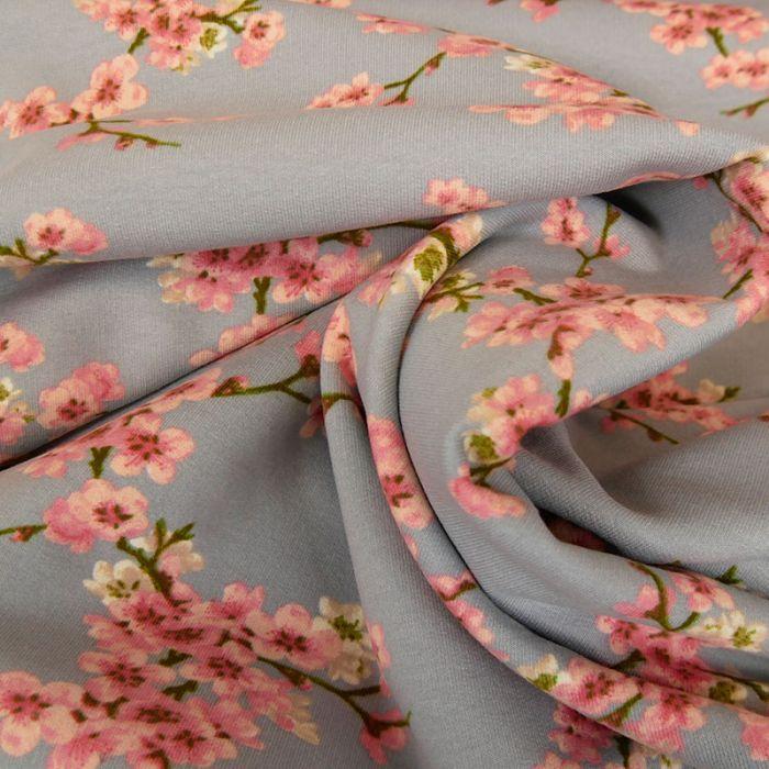 Tissu jersey gratté bio fleurs japonaises - gris x 10 cm