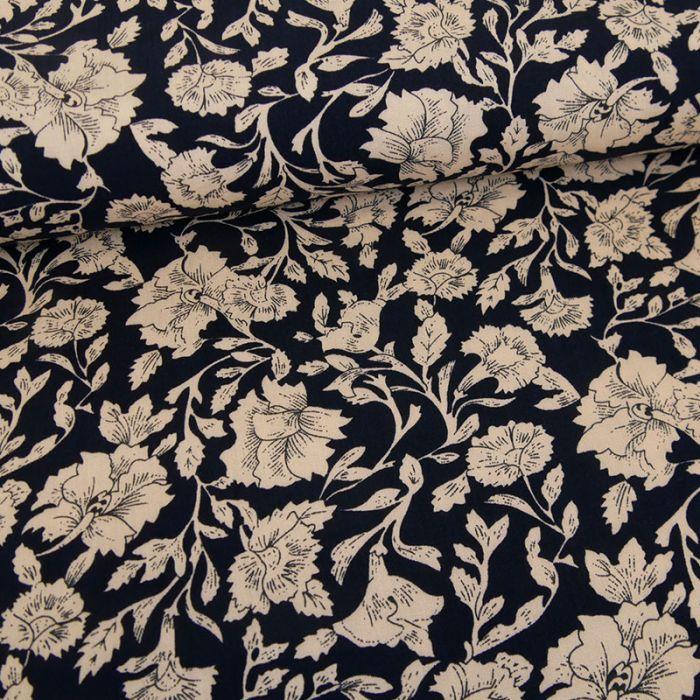 Tissu viscose fleurs Gaïa - bleu marine x 10 cm