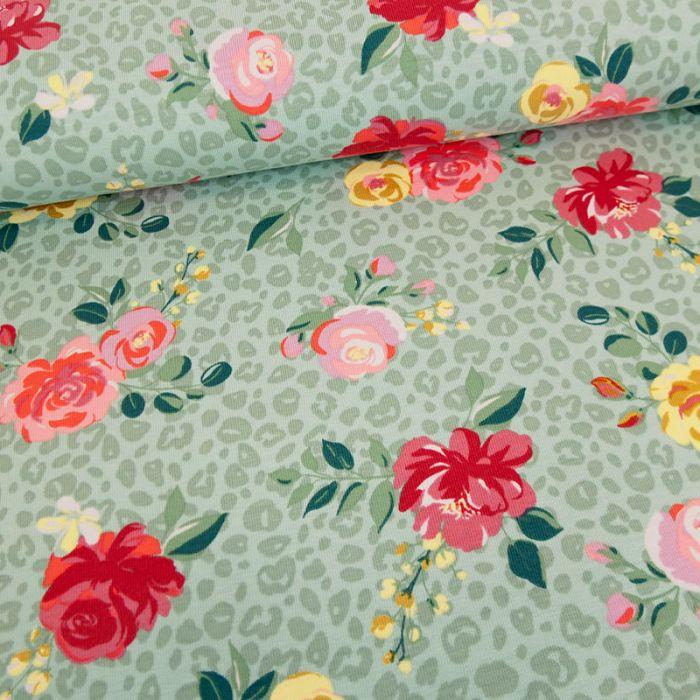 Tissu jersey fin roses léopard - vert x 10 cm
