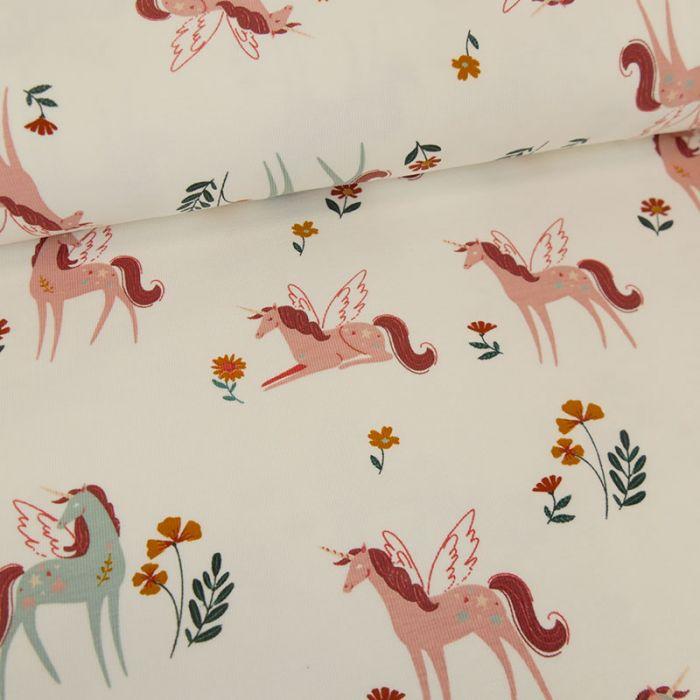 Tissu jersey fin licornes ailées - écru x 10 cm