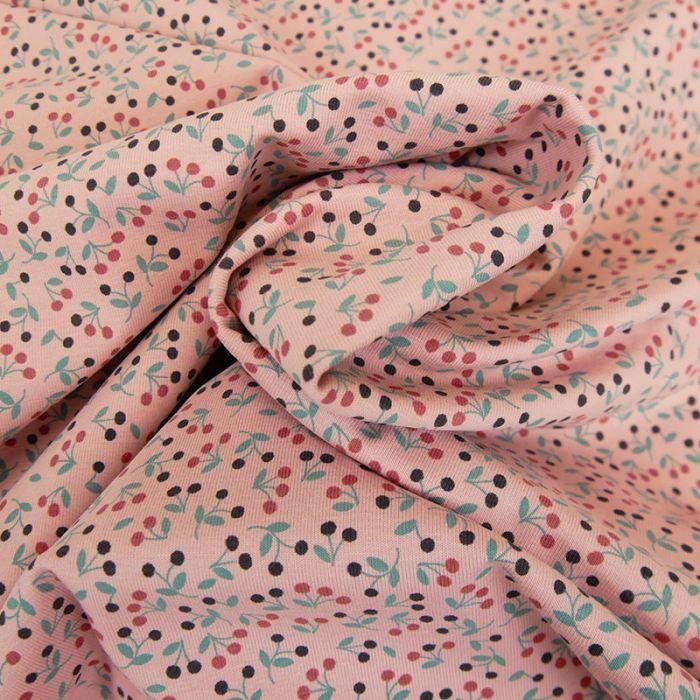 Tissu jersey fin petites baies - rose x 10 cm