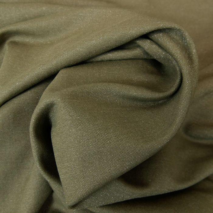 Tissu viscose lurex - kaki x 10 cm
