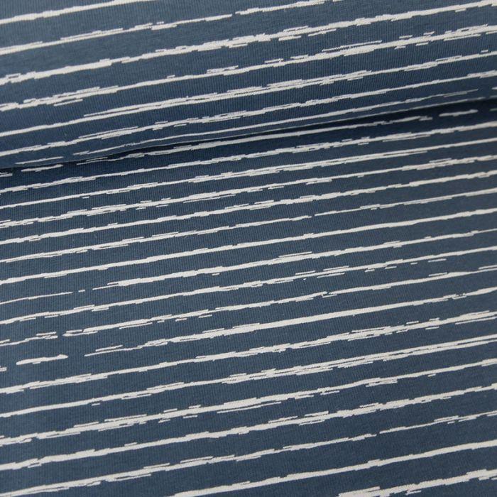 Tissu jersey rayures blanches - bleu x 10 cm
