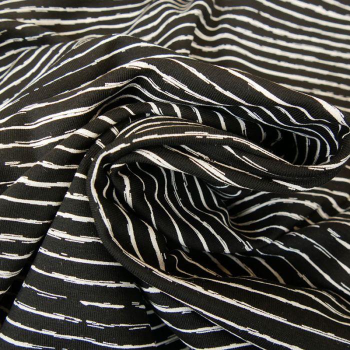 Tissu jersey rayures blanches - noir x 10 cm