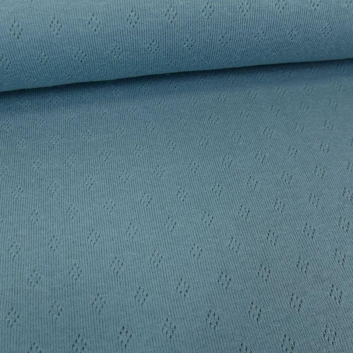 Tissu jersey ajouré - bleu x 10 cm