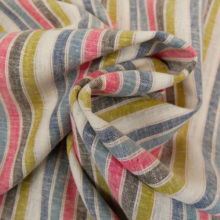 Tissu viscose lin à rayures lurex x 10 cm