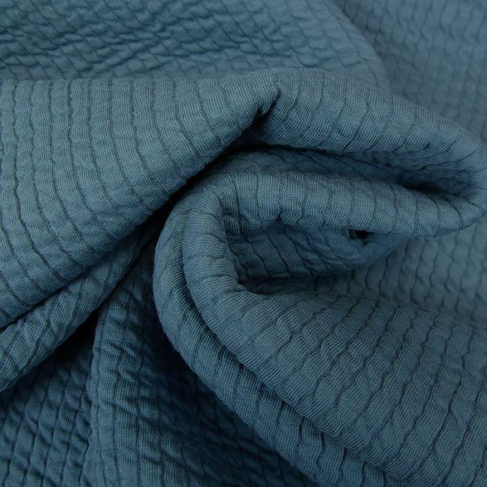 Tissu double jersey maille gaufré - pétrole x 10 cm