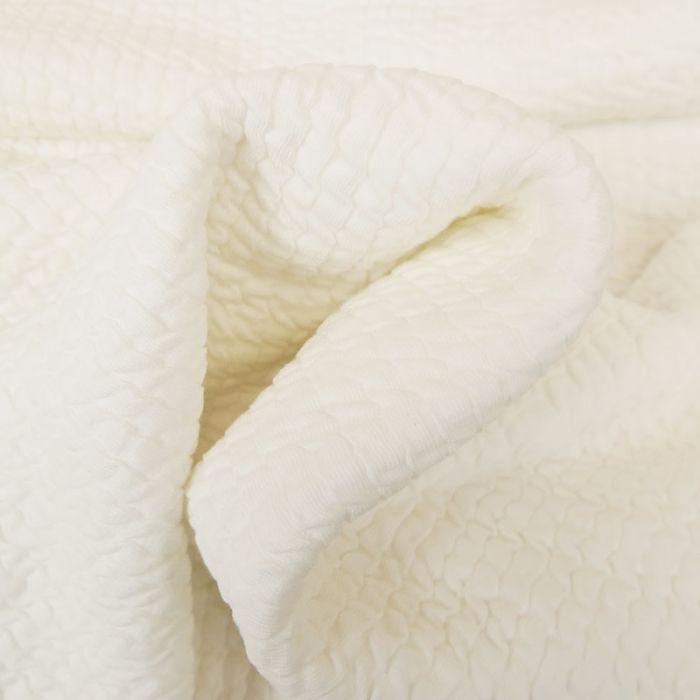 Tissu double jersey maille gaufré - écru x 10 cm