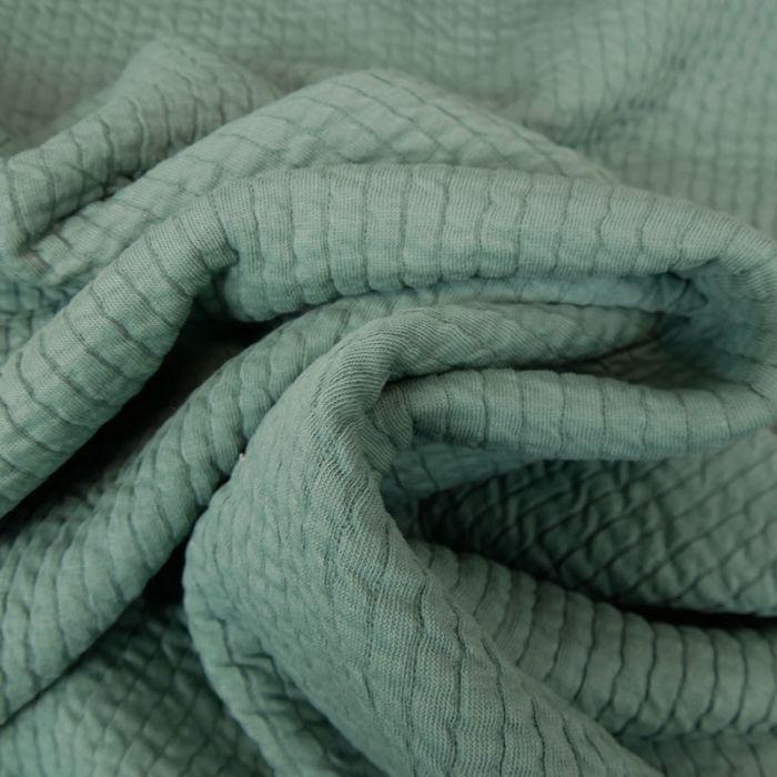 Tissu double jersey maille gaufré - vert x 10 cm