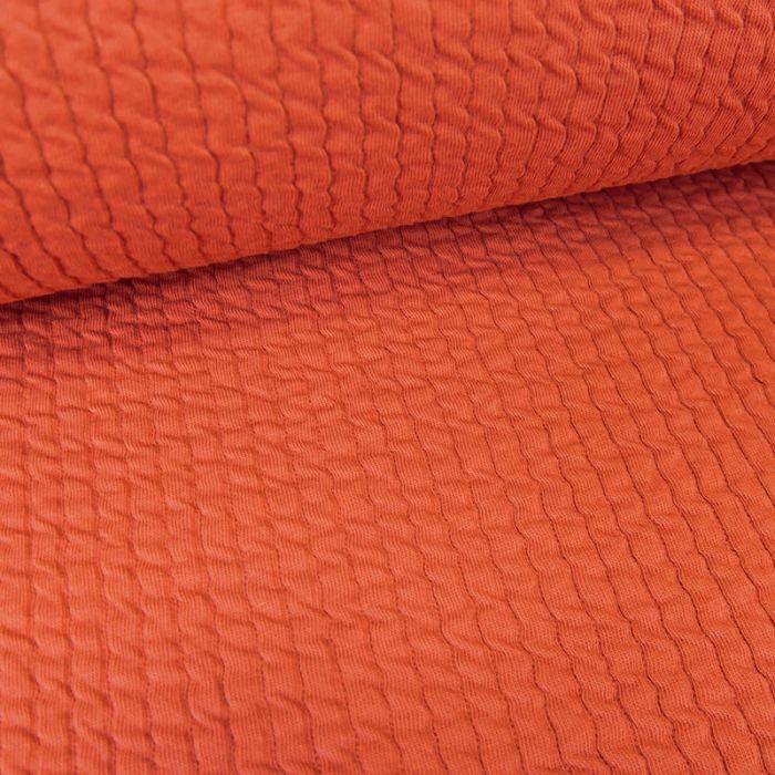 Tissu double jersey maille gaufré - brique x 10 cm