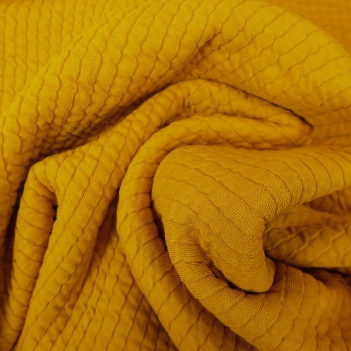 Tissu double jersey maille gaufré - moutarde x 10 cm