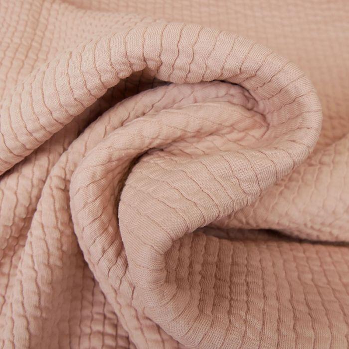 Tissu double jersey maille gaufré - rose x 10 cm