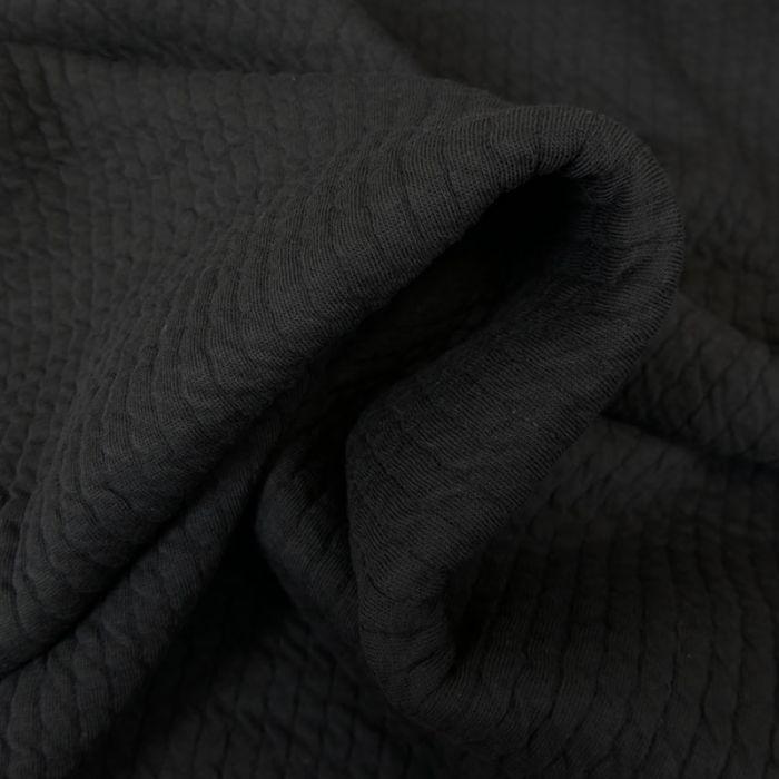 Tissu double jersey maille gaufré - noir x 10 cm