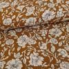 Tissu viscose fleurs Gaïa - marron x 10 cm