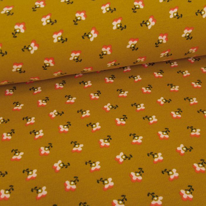 Tissu jersey bio sweat léger petites fleurs - moutarde x 10 cm