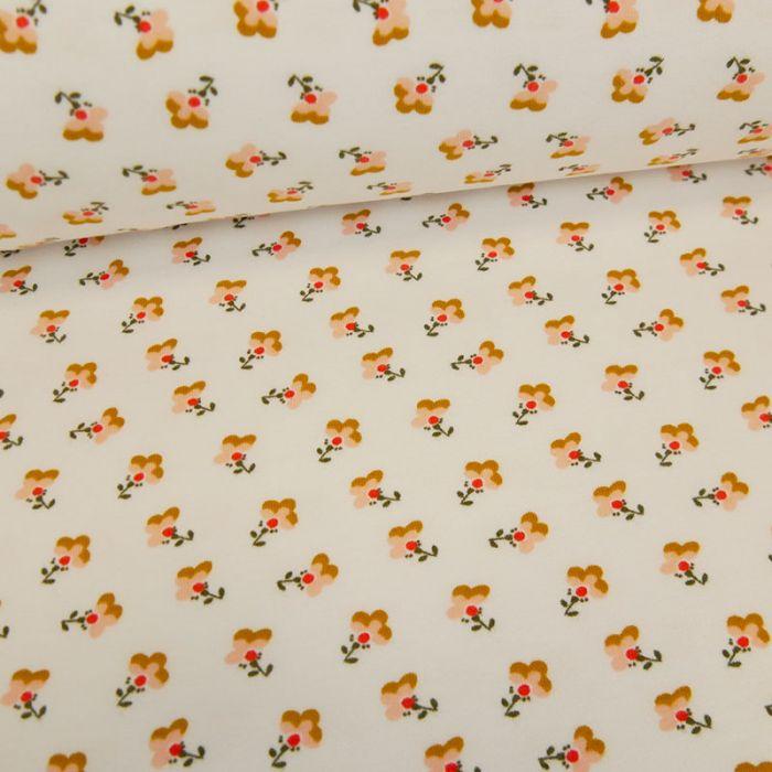 Tissu jersey bio sweat léger petites fleurs - blanc x 10 cm