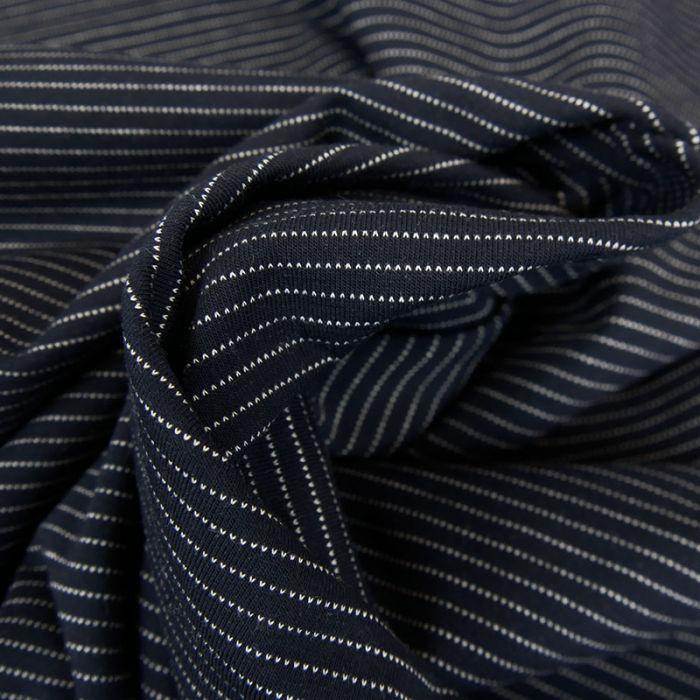 Tissu jersey fin à rayures - bleu marine x 10 cm