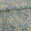 Tissu popeline fleurs aquarelle - bleu x 10 cm