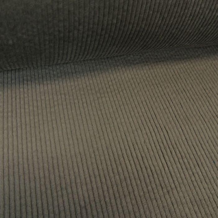 Tissu velours côtelé stretch uni - gris x 10 cm