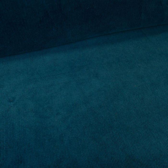 Tissu velours milleraies stretch - bleu canard x 10 cm