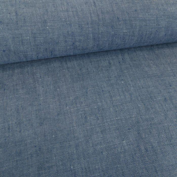 Tissu lin chiné - bleu jean x 10 cm