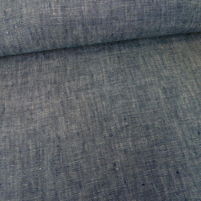 Tissu lin chiné - bleu foncé x 10 cm