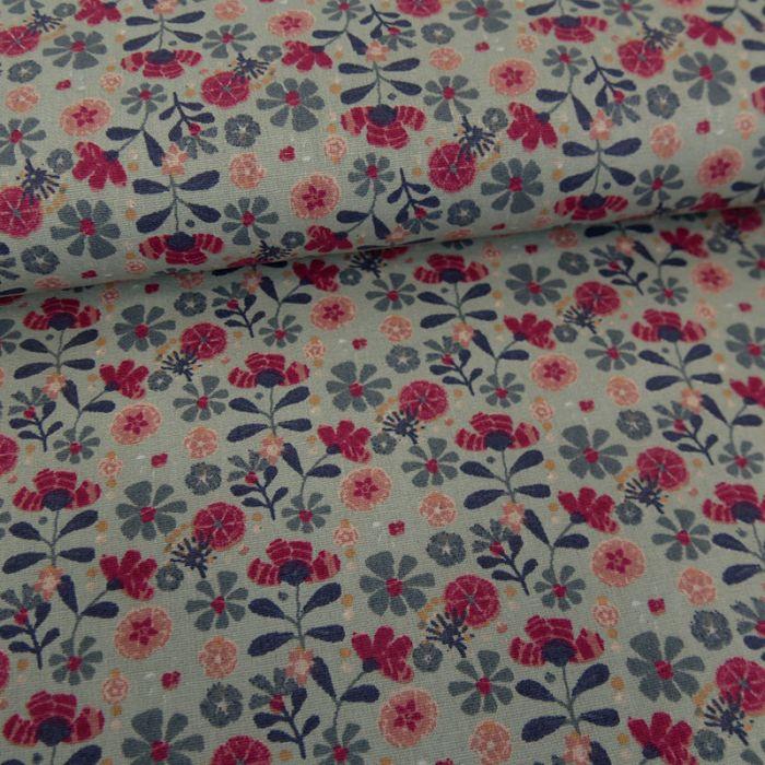 Tissu popeline coton bio fleurs Julie - vert de gris x 10 cm