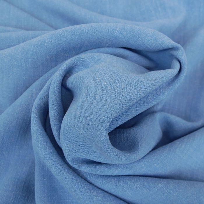 Tissu viscose lin - bleu jean x 10 cm