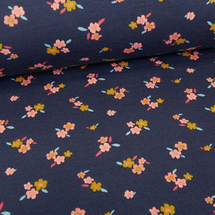 Tissu jersey bio à fleurs Florentine - bleu marine x 10 cm