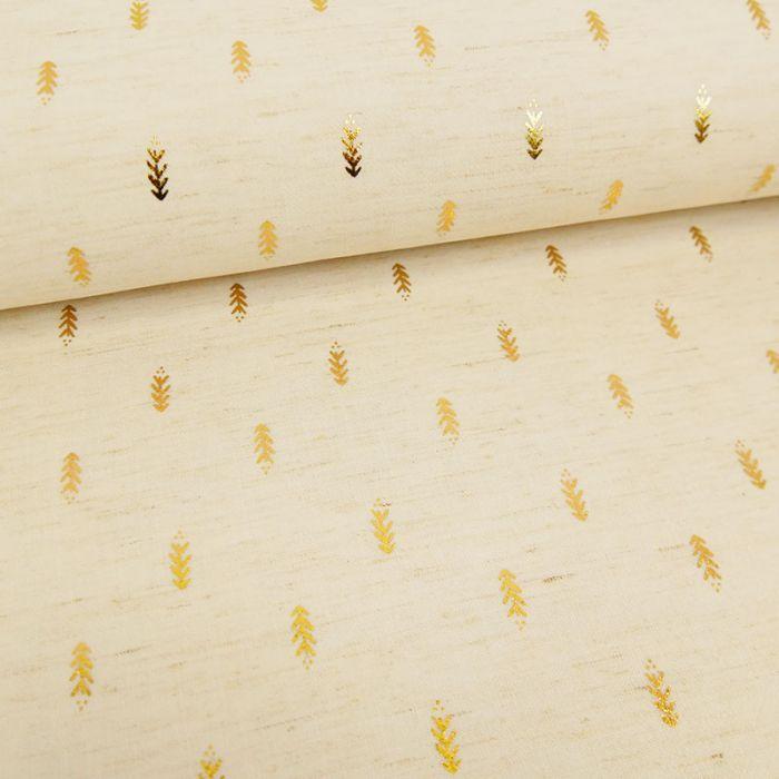 Tissu viscose lin sapins dorés - écru x 10 cm