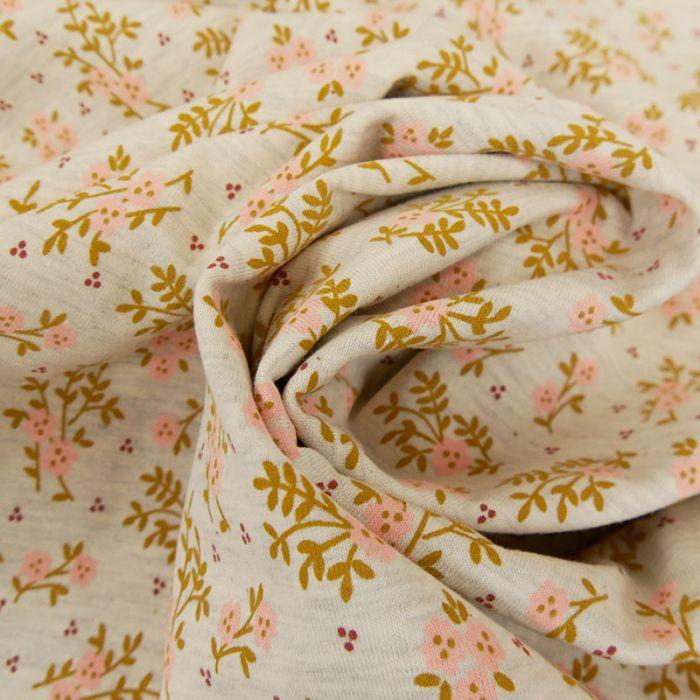 Tissu jersey à fleurs Anaïs - gris chiné x 10 cm