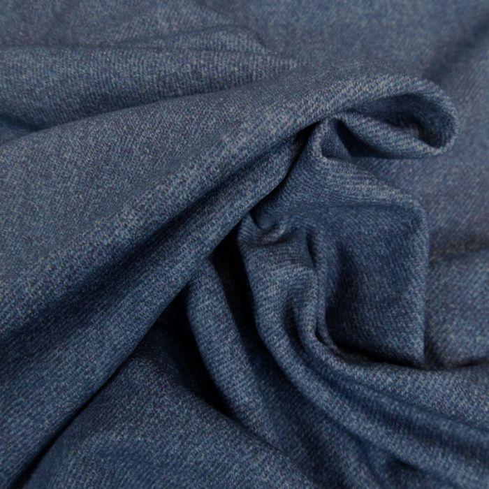 Tissu jersey bio fin effet jean - bleu marine x 10 cm