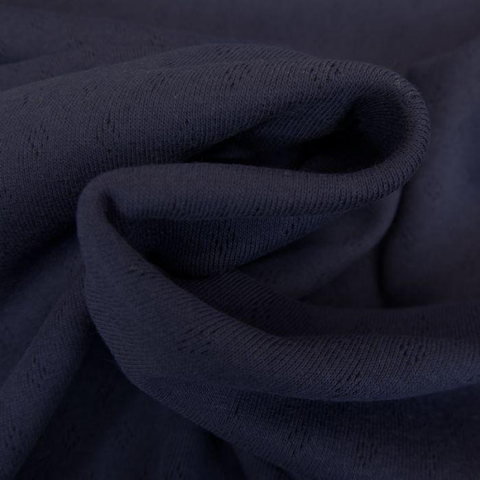 Tissu jersey ajouré - bleu navy x 10 cm