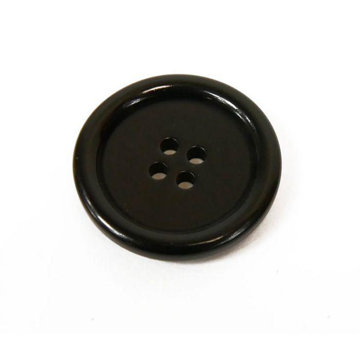 Bouton corozo classique à rebord - noir x1
