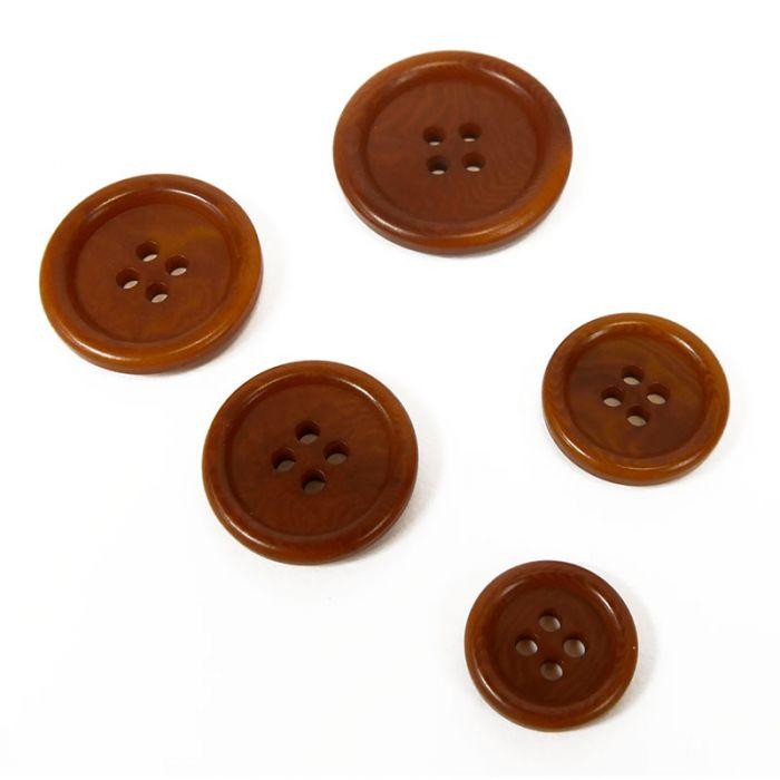 Bouton corozo classique à rebord - caramel x1