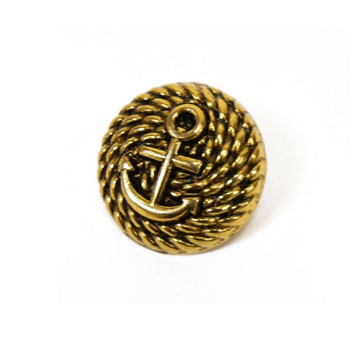 Bouton métal bombé ancre - doré x1