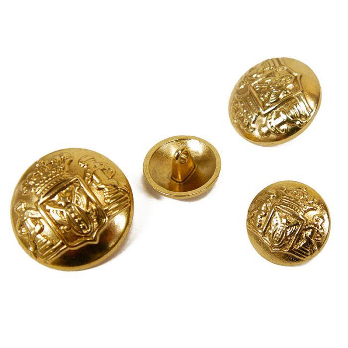 Bouton métal bombé blason - doré x1