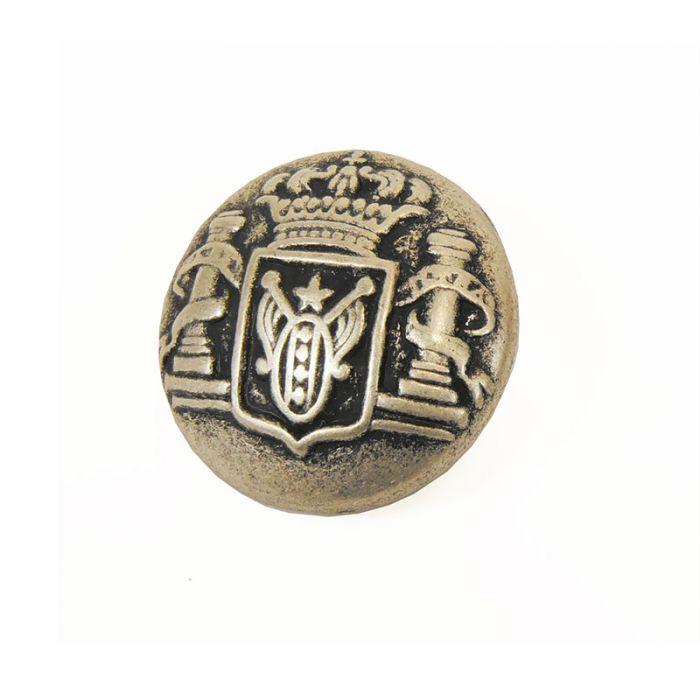 Bouton métal bombé blason - argent vieilli x1