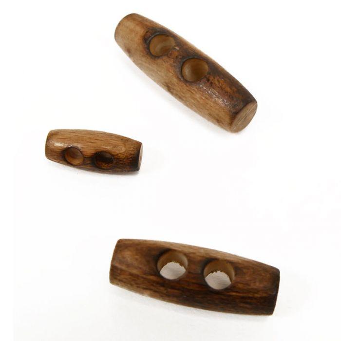 Bouton bûchette en bois - naturel x1