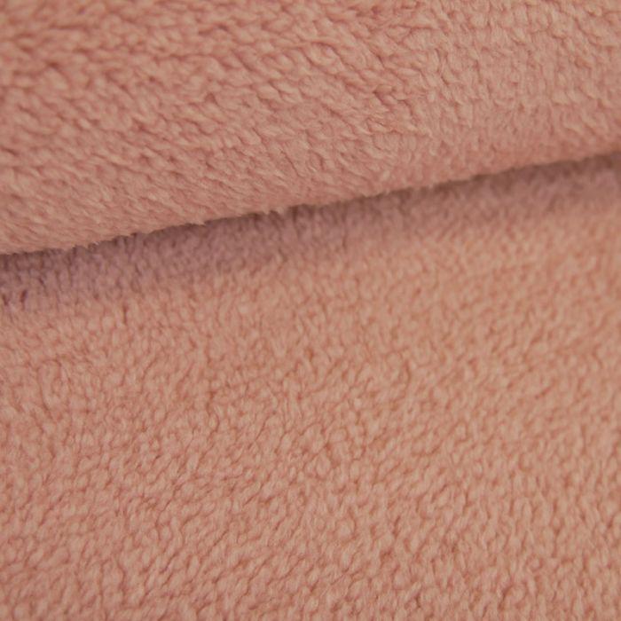 Tissu fausse fourrure peluche - rose x 10 cm