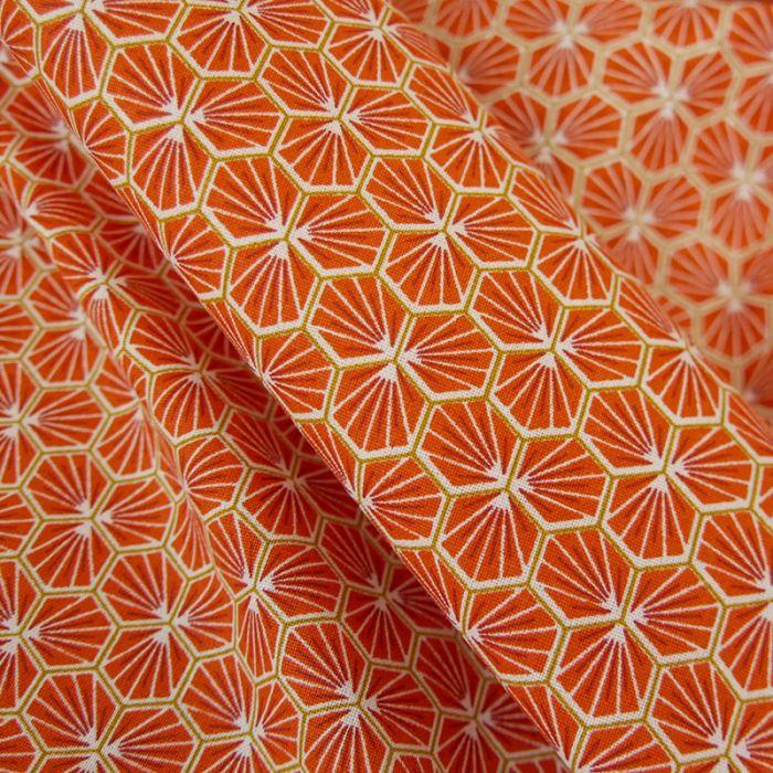 Tissu Cretonne Hexagone - orange x 10 cm