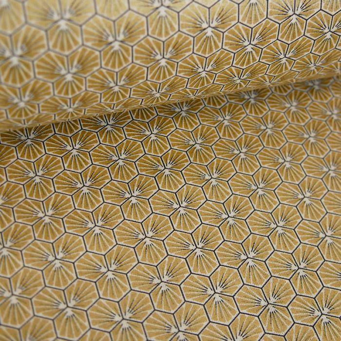 Tissu Cretonne Hexagone - doré x 10 cm