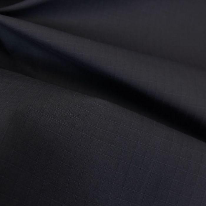 Tissu coton ciré waterproof carreaux - bleu marine x 10 cm