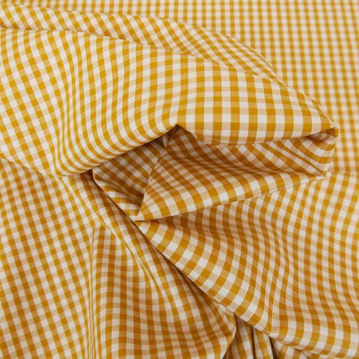 Tissu coton vichy - safran x 10cm